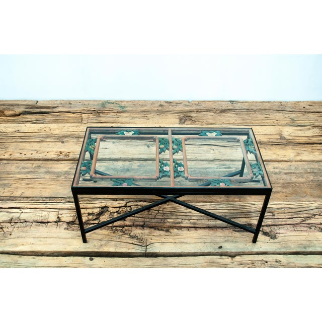Antique Sarreid LTD Window Framed Coffee Table - Image 2 of 6