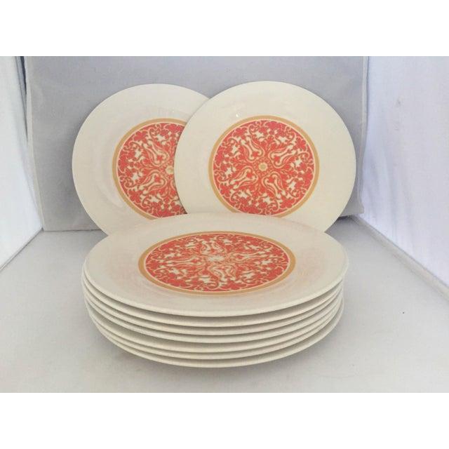 1970's Royal Doulton Orange Flower Dinner Plates S/9 - Image 6 of 9