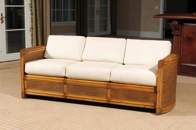 Exceptional Restored Vintage Rattan Sofa   Image 2 Of 11