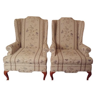 Floral Wing-Back Chairs - Pair