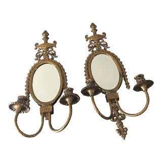 Antique Brass Mirror Wall Sconces - a Pair
