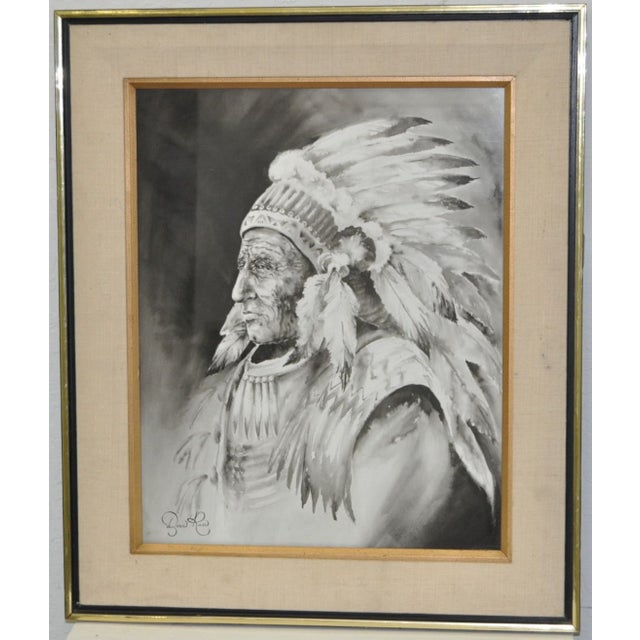 Doris Reese Native American Indian Watercolor - Image 2 of 5