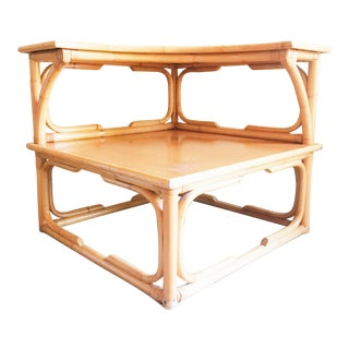 Mid Century Modern Two Tier Faux Bamboo Accent Table