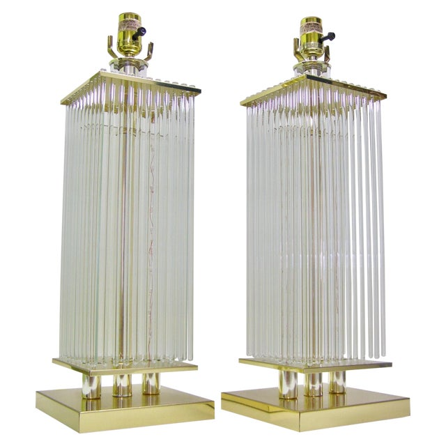 Sciolari-Style Vintage Glass Rod Lamps - A Pair - Image 1 of 8