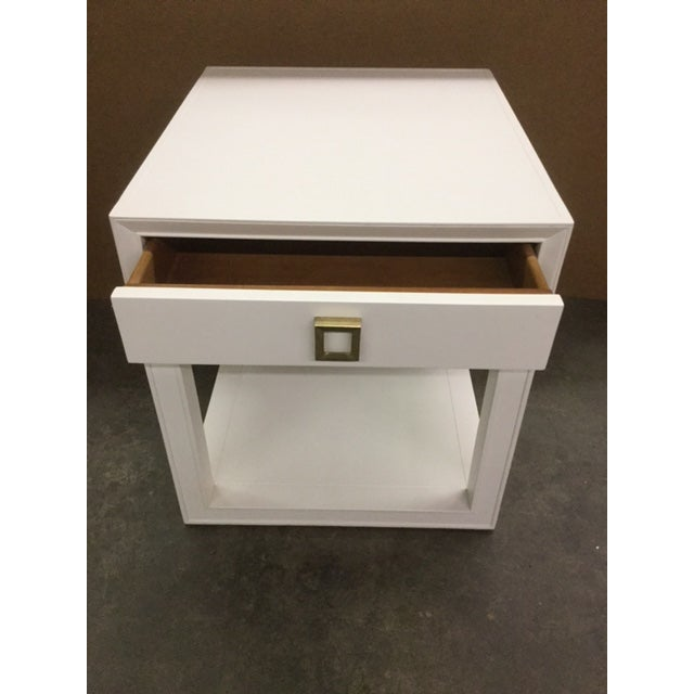 """Malibu Loft"" Single Drawer White Side Table - Image 5 of 6"