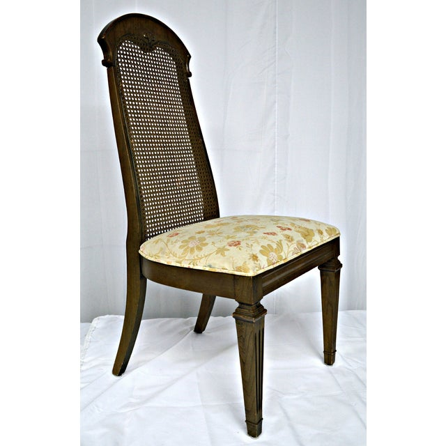 Wicker High Back Wooden Chairs- Set of 4 - Image 6 of 6