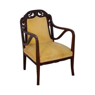 Antique French Art Nouveau Style Walnut Arm Chair