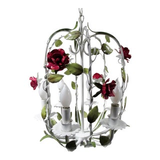 1970s Italian Tole Painted Rose Birdcage Chandelier