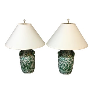 White + Green Ceramic Asian Table Lamps - A Pair