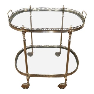 French Oval Brass and Steel Bar Cart