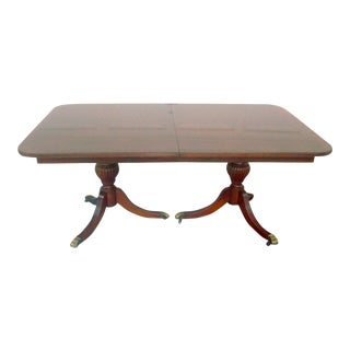 Ethan Allen Mahogany Banded Dining Table on Casters