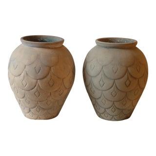 Mid-Century Ceramic Garden Urns - A Pair