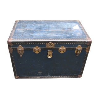 Blue Antique Steamer Trunk w/ Floral Lining