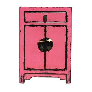 Chinese Distressed Pink Round Moon Face End Table Nightstand cs2641