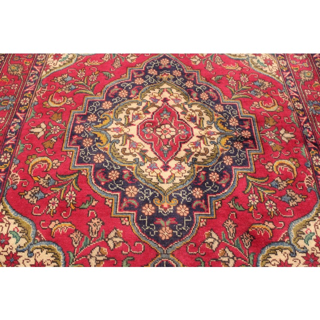 "Vintage Red & Blue Persian Rug - 4'8"" X 6'3"" - Image 4 of 4"