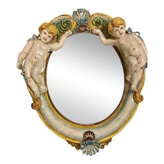 Della Robbia Style Italian Outdoor Mirror