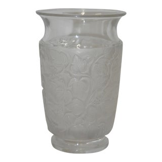 Lalique Frosted Leaf Flower Vase