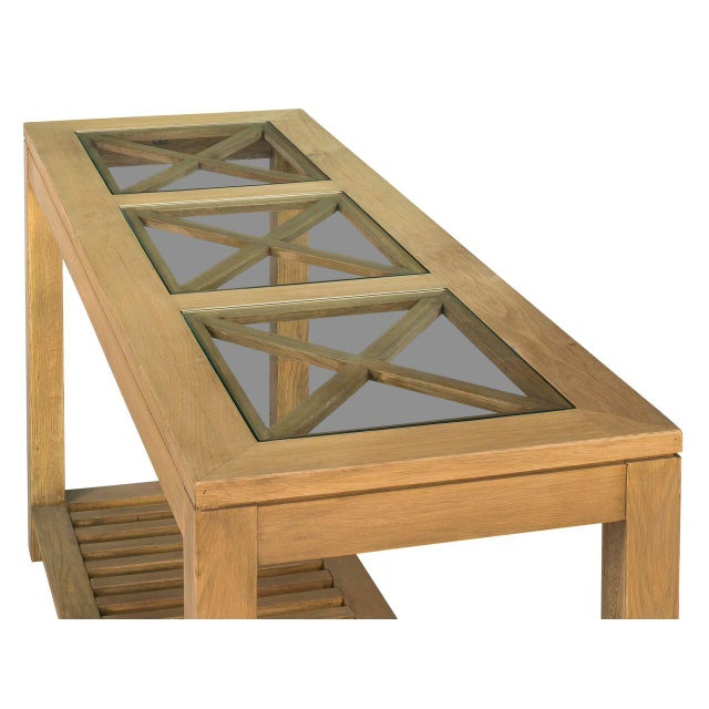 Sarreid LTD Oak Cross Wall Table - Image 4 of 8