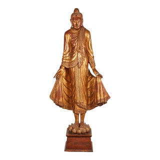 A Very Large 19th Century Gold Thai Standing Buddha
