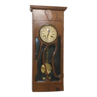Modernist Studio Craftsman Wood Pendulum Wall Clock