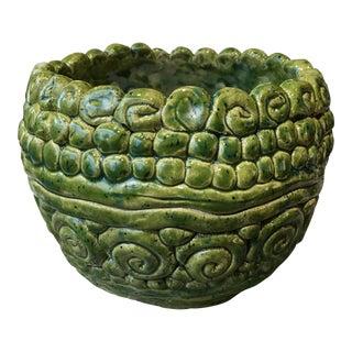 Handmade Green Swirl Pot