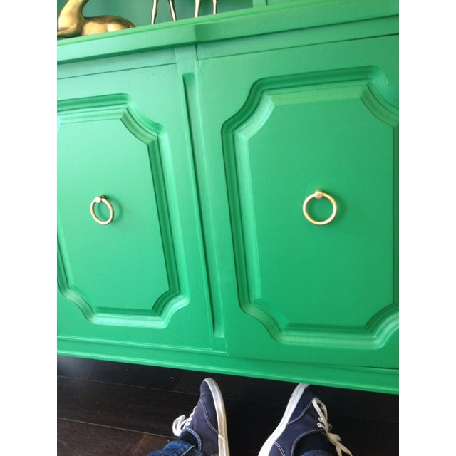 Painted Kelly Green China Hutch - Image 4 of 5