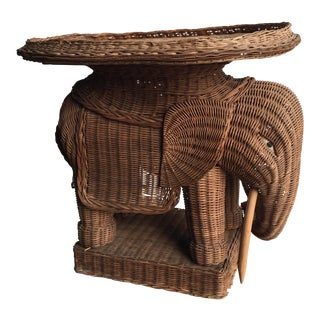 Vintage Wicker Elephant Occasional End Table