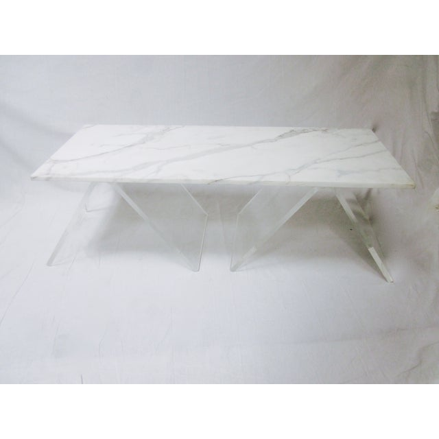 Lucite Base Coffee Table with Marble Top - Image 2 of 11