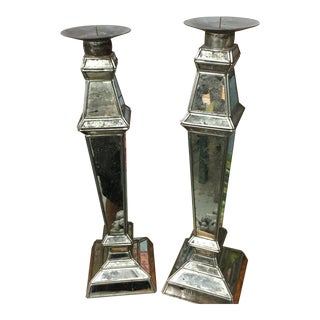 Antique Mirrored Candle Holders - A Pair