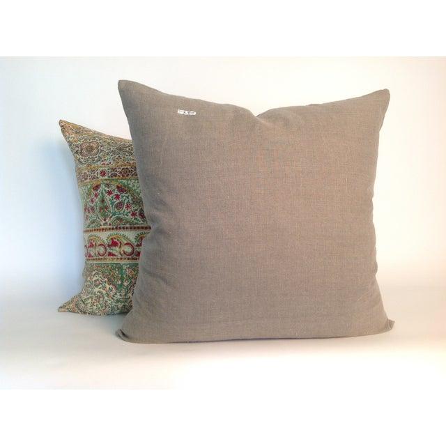Vintage Block Print Green Kantha Pillows - A Pair - Image 3 of 4