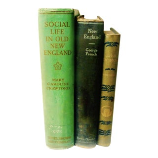 Old New England Antique Books - Set of 3
