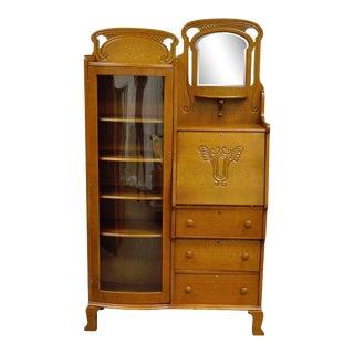 Antique Victorian Golden Oak Bow Glass Side by Side Bookcase Secretary Desk