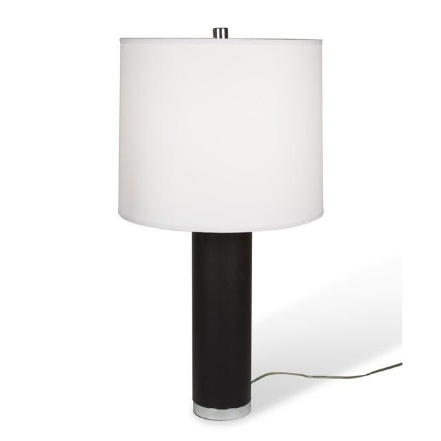 Ralph Lauren Black Leather & Chrome Table Lamp - Image 2 of 8