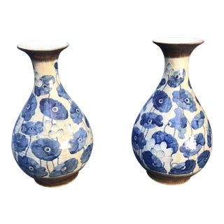 Chinese Blue & White Poppy Flowers Vases - A Pair