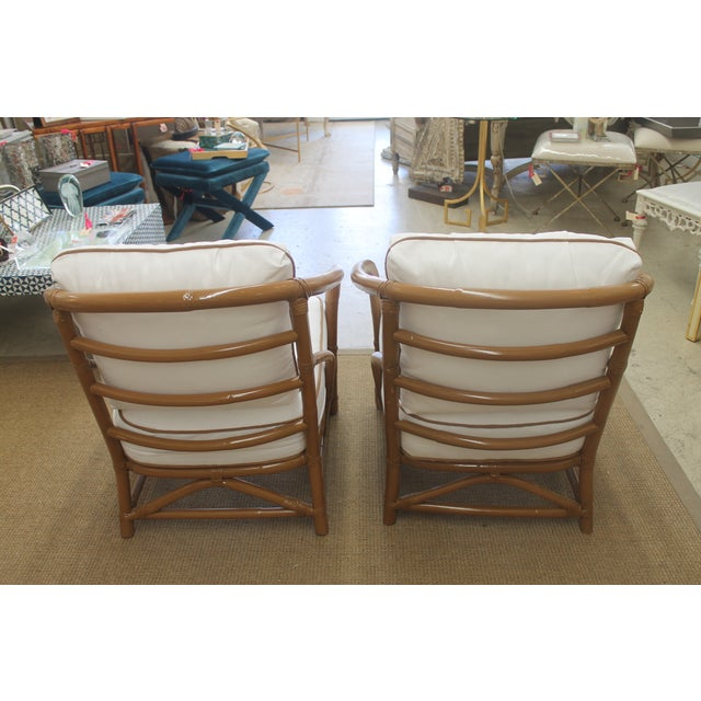 Vintage White Bamboo Chairs - A Pair - Image 4 of 5