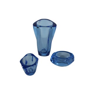 Mid Century Blue Art Glass, Set of 3