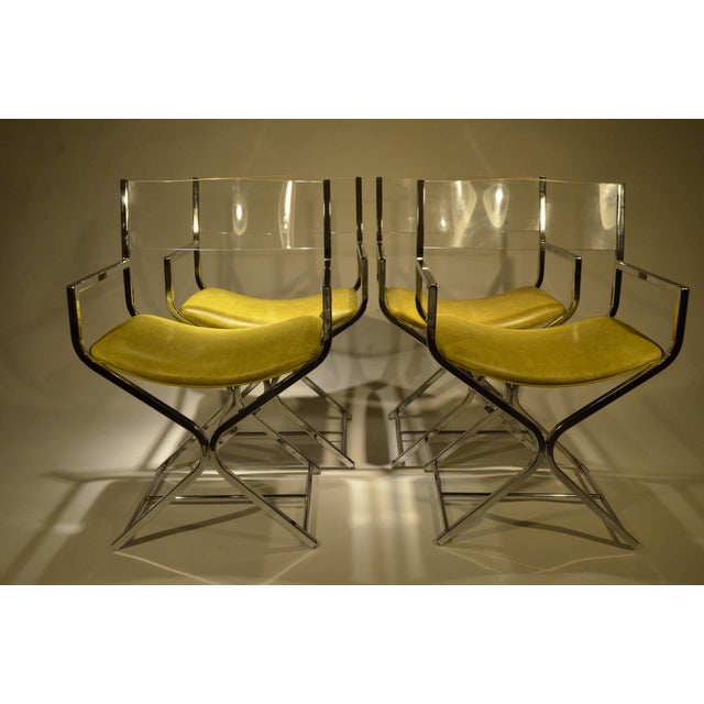 Chrome and Glass Game and or Dining Table and Four Chrome and Lucite Armchairs - Image 11 of 11