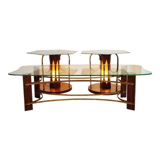 Mid-Century Wood & Glass Coffee & Lighted Side Table - Set of 3