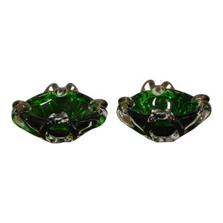 Green Murano Glass Bowls - a Pair