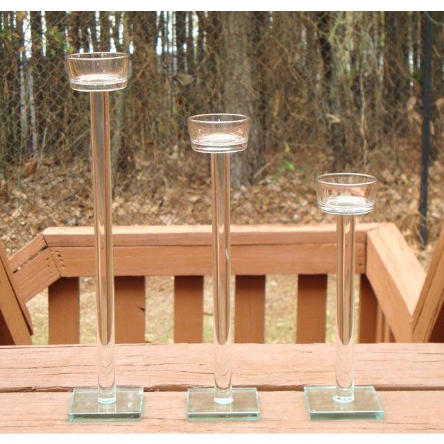 Minimalist Glam Glass Candlesticks - Set of 3 - Image 4 of 9