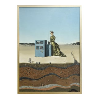 "Oil on Canvas ""Desert Landscape with Woman & Computer,"" Robert Springfels, 1970"