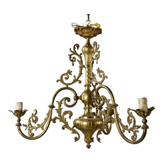 French Three Light Solid Cast Brass Chandelier
