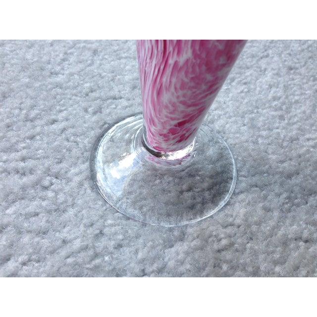 Image of Murano Italian Pink & White Swirl Glass Vase