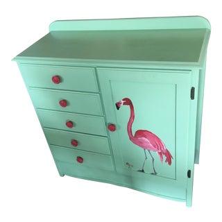 Hand Painted Flamingo Dresser