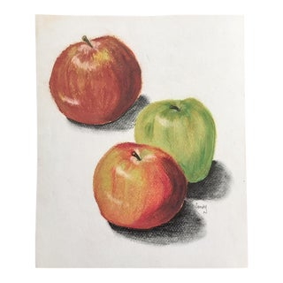 Vintage Pastel of Three Apples