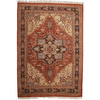 Vintage Persian Heriz Design Wool Area Rug