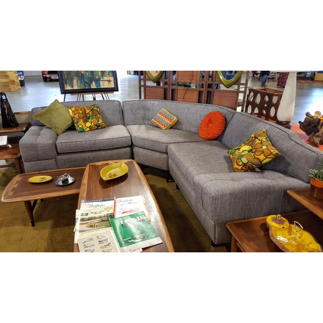 Mid-Century Modern Gray Sectional Sofa - Image 5 of 8