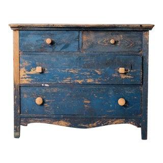 Antique Primitive Blue Wooden Dresser