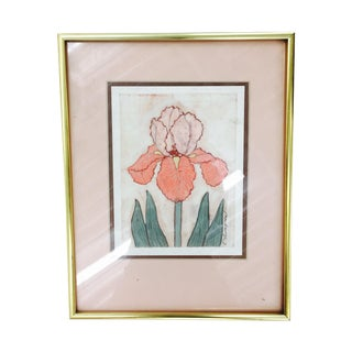 Vintage Framed Painted Silk Iris