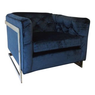 Cobalt Velvet Chrome-Framed Chair